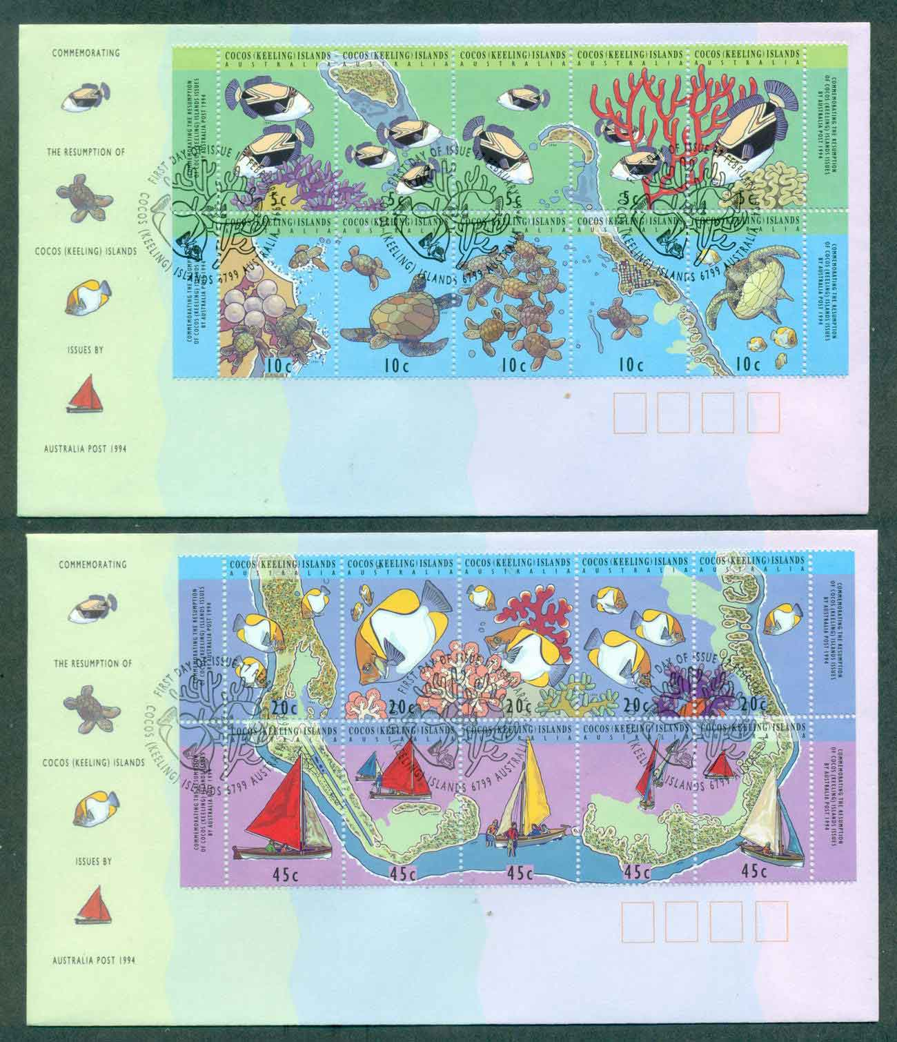 Cocos Keeling Is 1994 Maps ex Sheetlet (2) FDC lot48995
