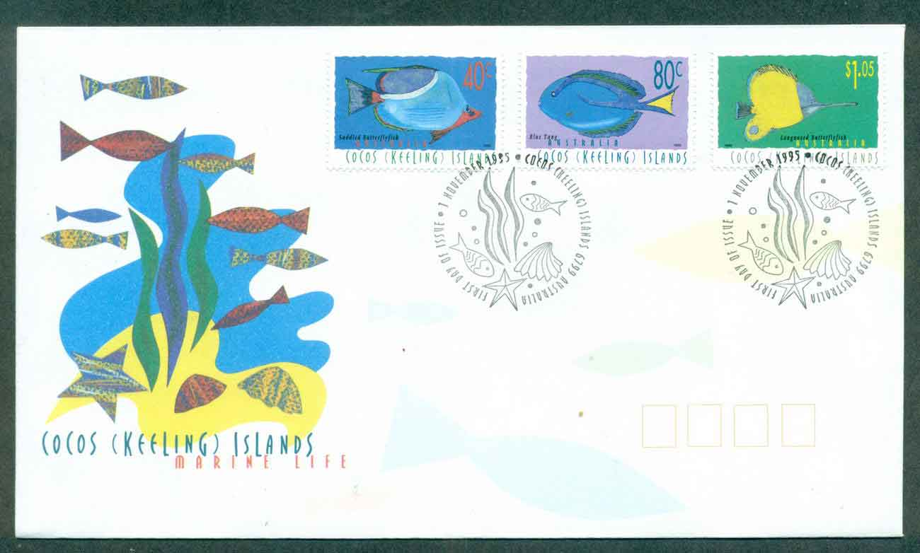Cocos Keeling Is 1994 Marine Life I 40,80c,$1.05 FDC lot48998