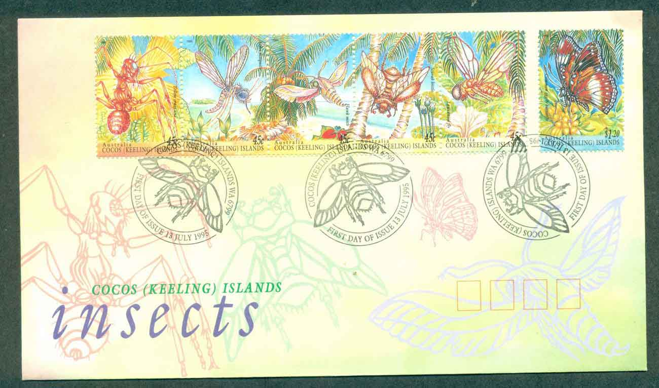 Cocos Keeling Is 1995 Insects Str 6 FDC lot48999