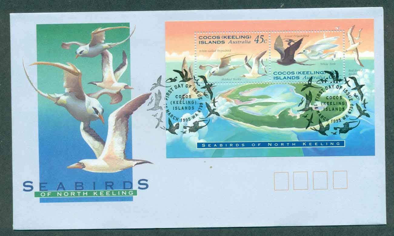 Cocos Keeling Is 1995 Sea Birds MS FDC lot49001