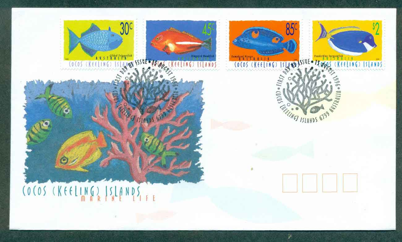 Cocos Keeling Is 1996 Marine Life II, 30,45,85c,$2 FDC lot49004