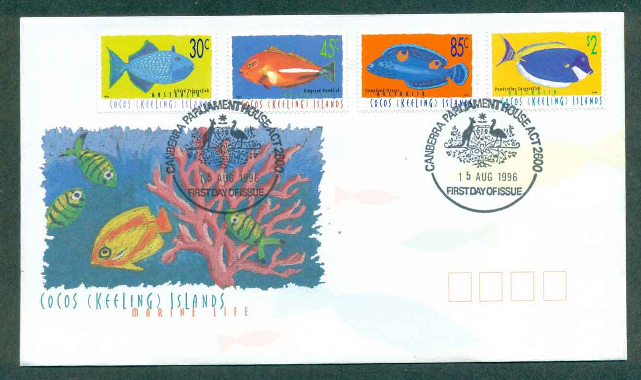 Cocos Keeling Is 1996 Marine Life II, 30,45,85c,$2, Parliament House FDC lot49005