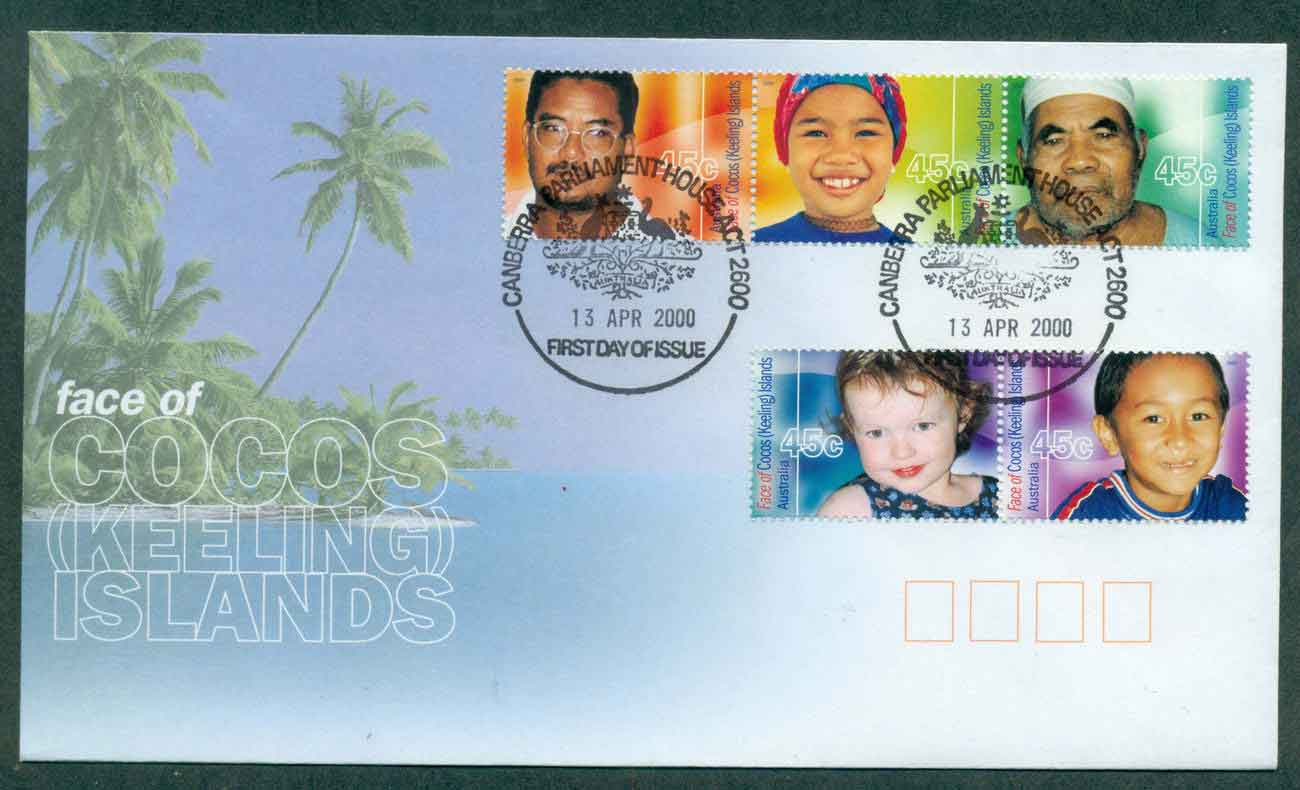 Cocos Keeling Is 2000 Faces of Cocos FDC lot49010