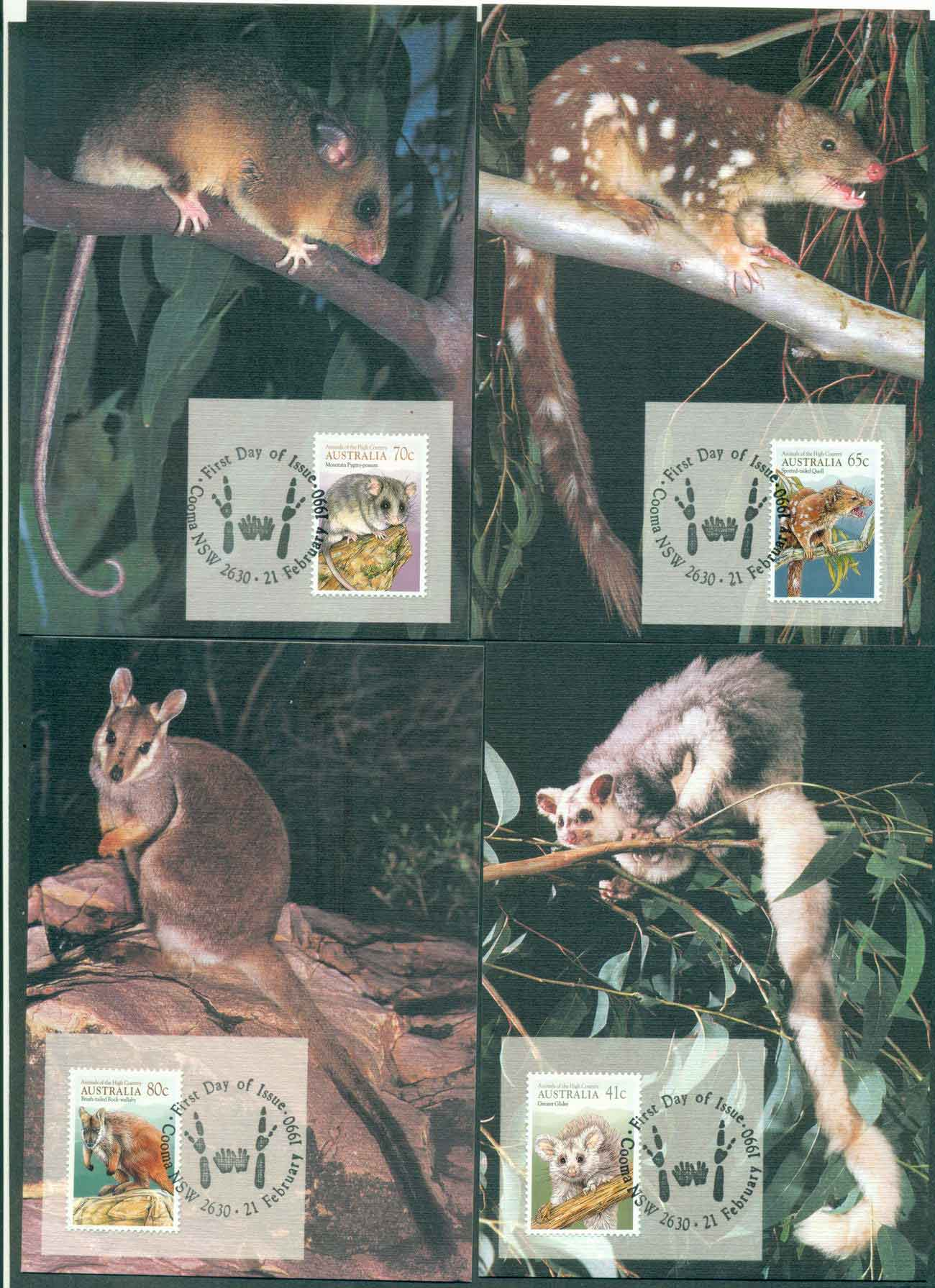 Australia 1990 Animals of the High Country Maximum Cards (4) lot49211