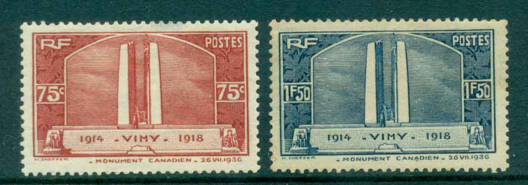 France 1936 Canadian war Memorial Vimy (faluts, 75c light thin, 1.50 tone spots) MH lot49260