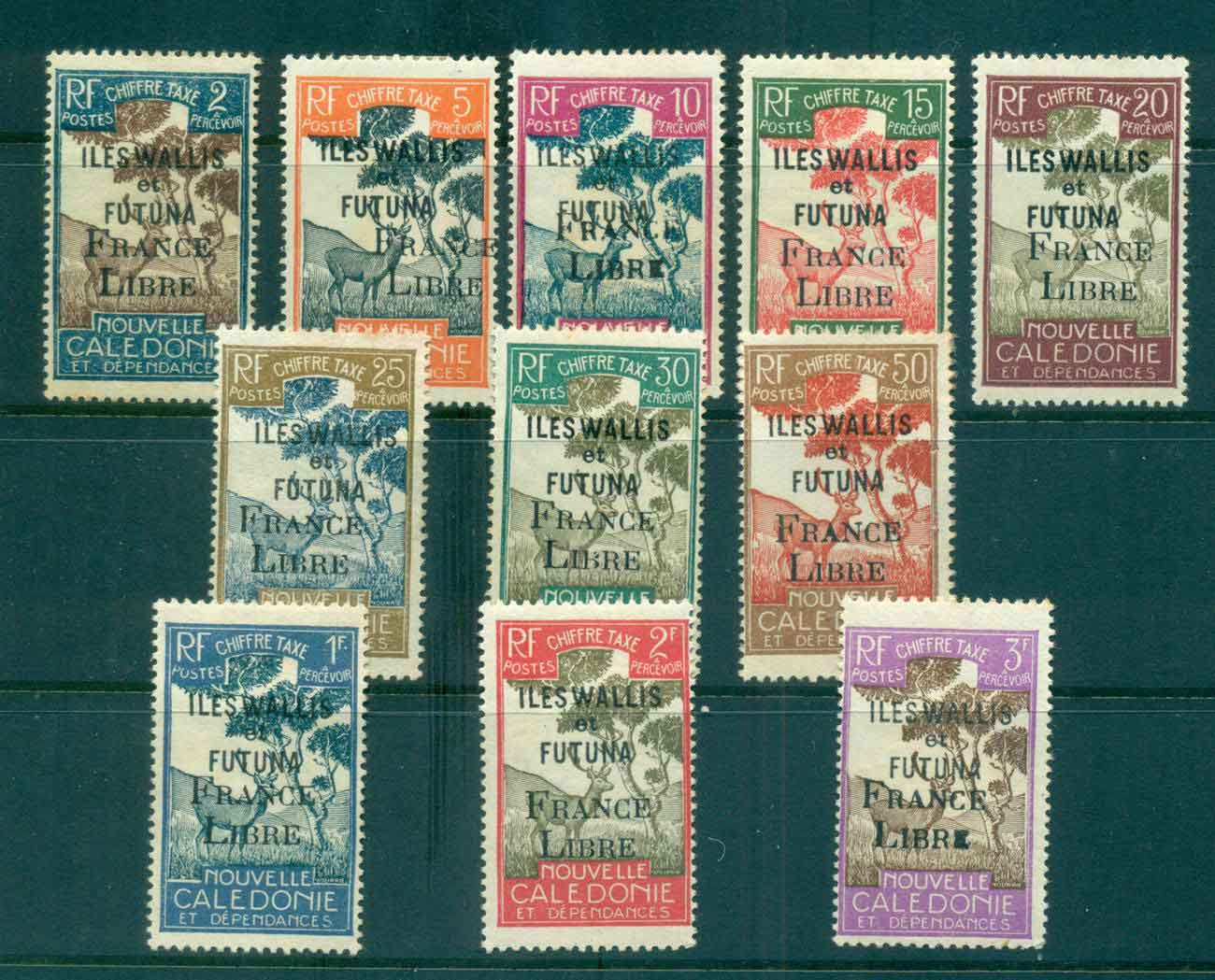 Wallis & Futuna 1943 Postage Dues Opt France Libre Asst to 3f (11/13, no 4c, 60c) MLH lot49495