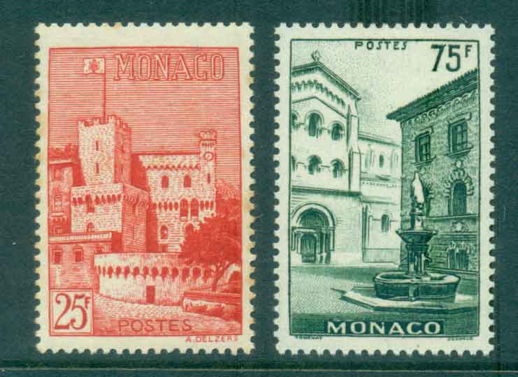 Monaco 1954 Scenic Types (25f toned) MLH lot50103