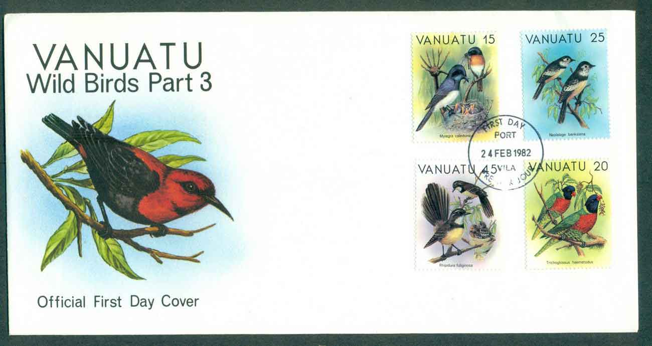 Vanuatu 1982 Wild Birds 15,20,25,45c Part III FDC lot50386