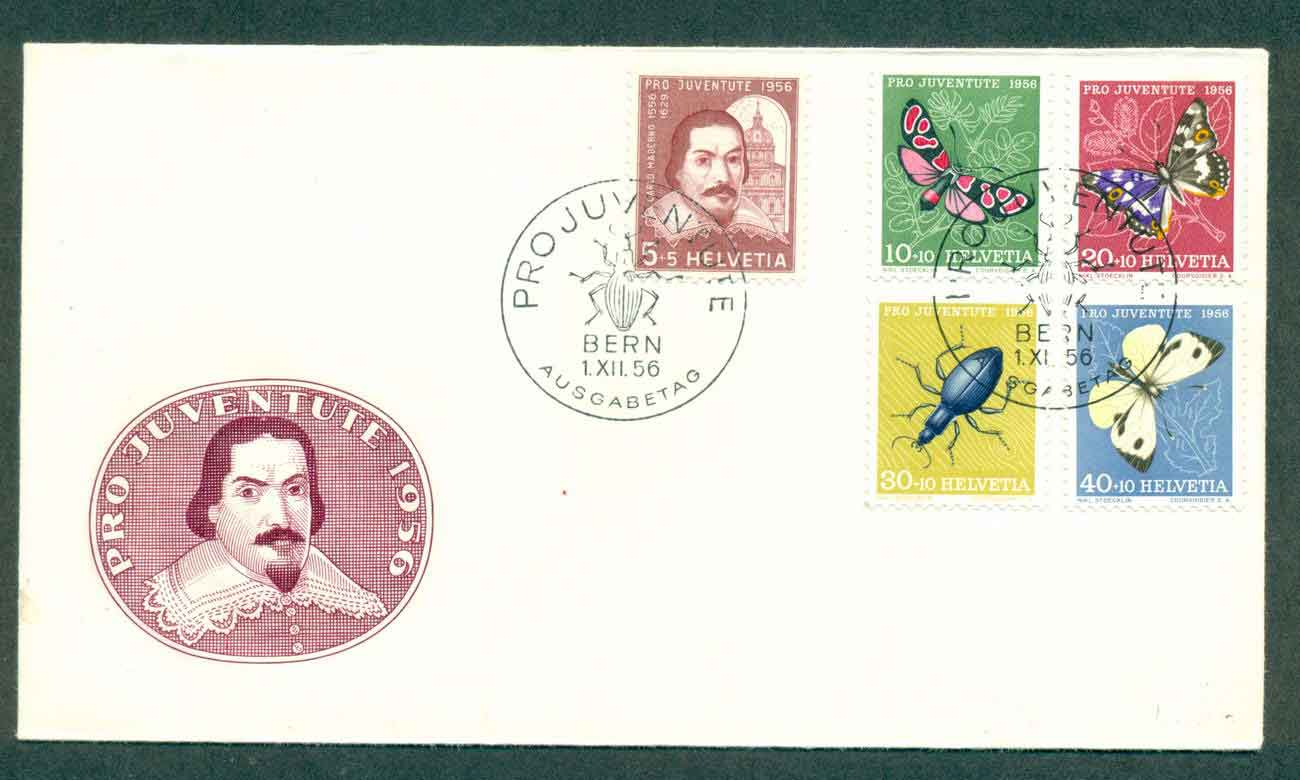 Switzerland 1956 Pro Juventute Moths, Insects FDC lot50395