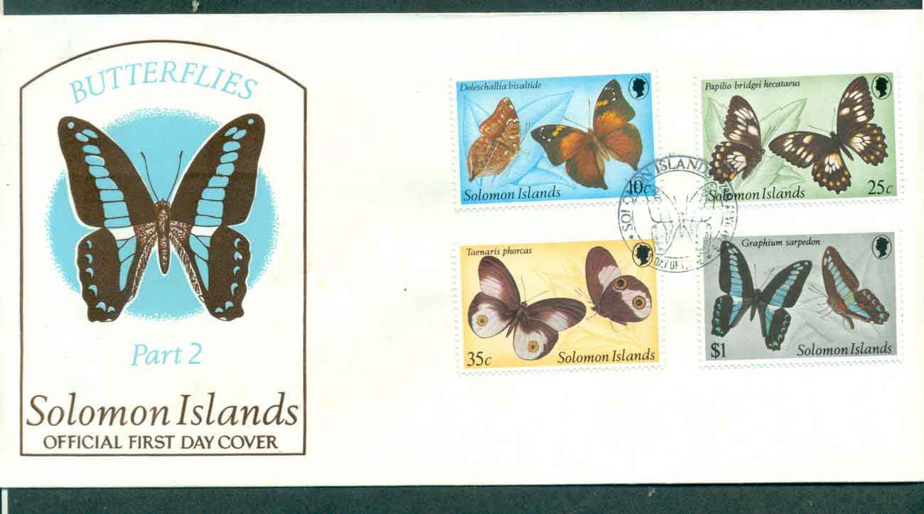 Solomon Is 1980 Butterfies Insects Pt II FDC lot50397