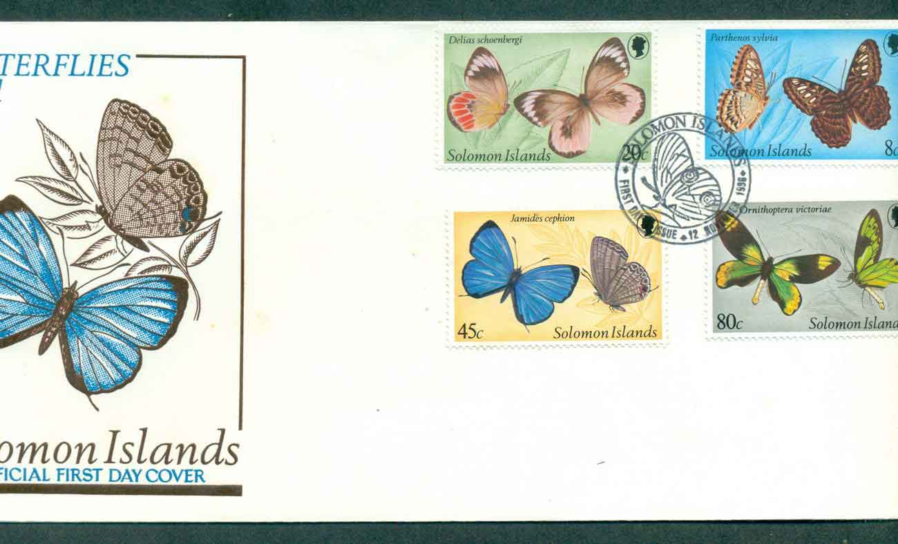Solomon Is 1980 Butterfies Insects Pt I FDC lot50398
