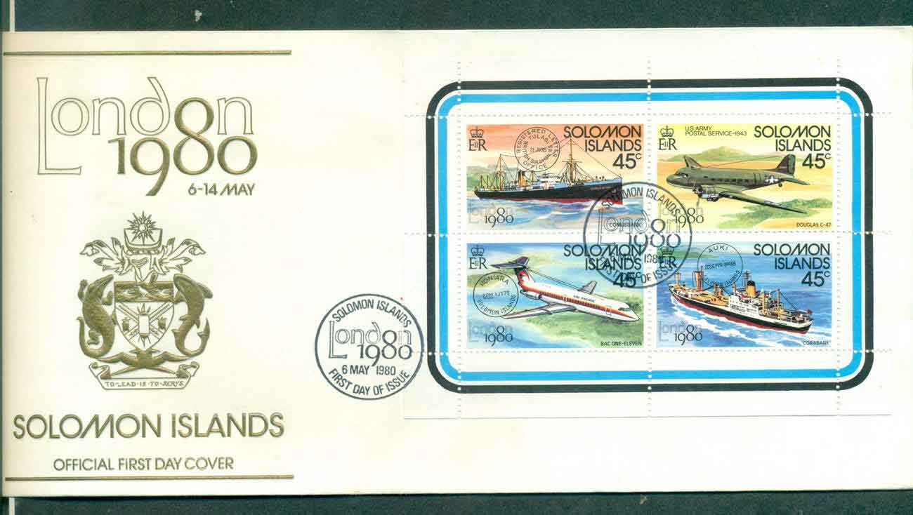 Solomon Is 1980 London Stamp Ex MS Ship, Plane FDC lot50399