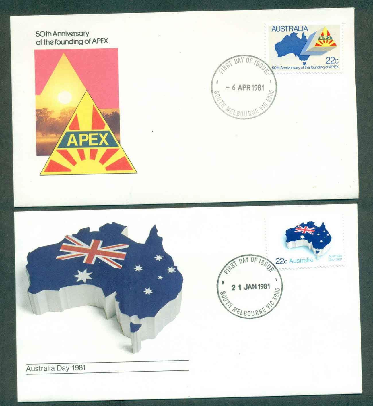 Australia 1981 APEX, Australia Day South Melbourne 2x FDC lot50691