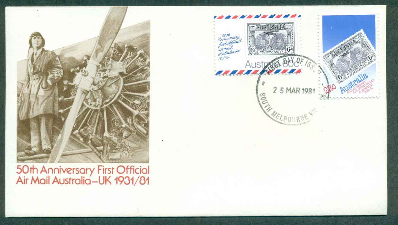 Australia 1981 Air mail Anniv, South Melbourne FDC lot50696