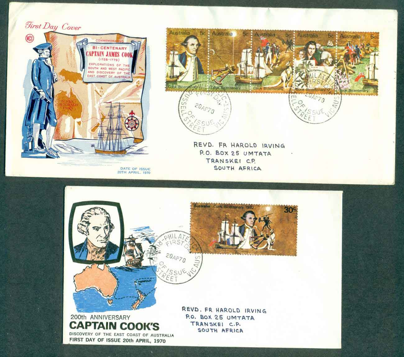 Australia 1970 Cook, 5c Strip large, 30c small, WCS addressed,Russell St FDC lot50736