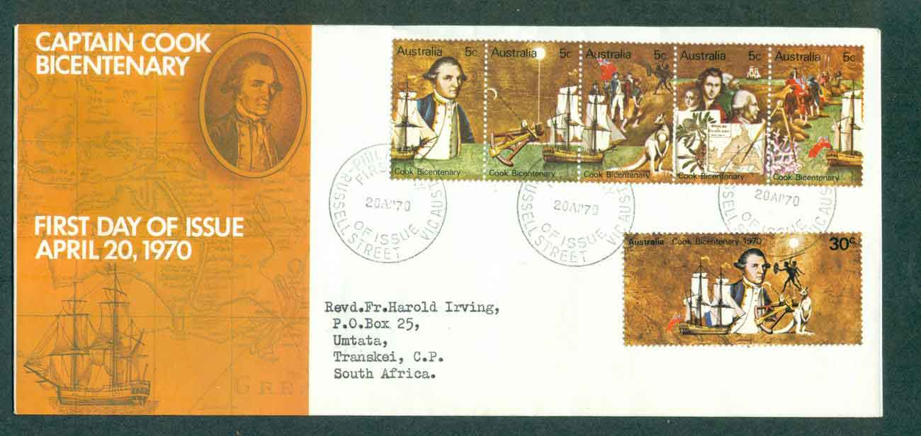 Australia 1970 Cook set,large, addressed,Russell St FDC lot50738