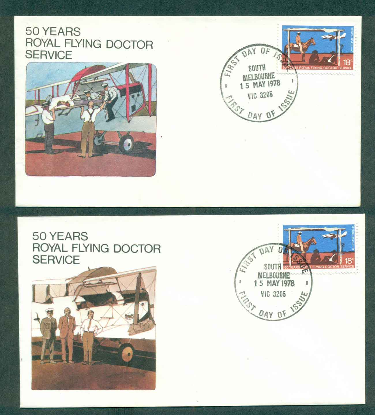 Australia 1978 Flying Doctor, South Melbourne 2xFDC lot50792