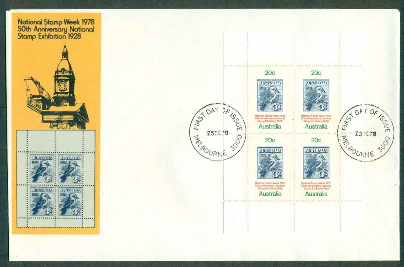 Australia 1978 Stamp Week MS, Melbourne FDC lot50806