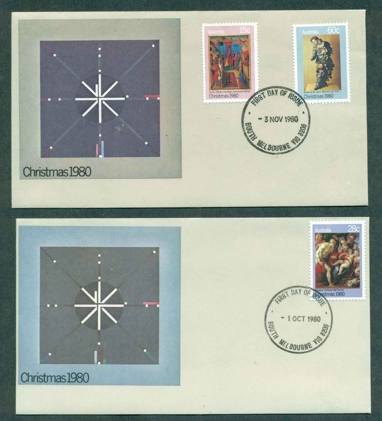 Australia 1980 Xmas,South Melbourne 2xFDC lot50820