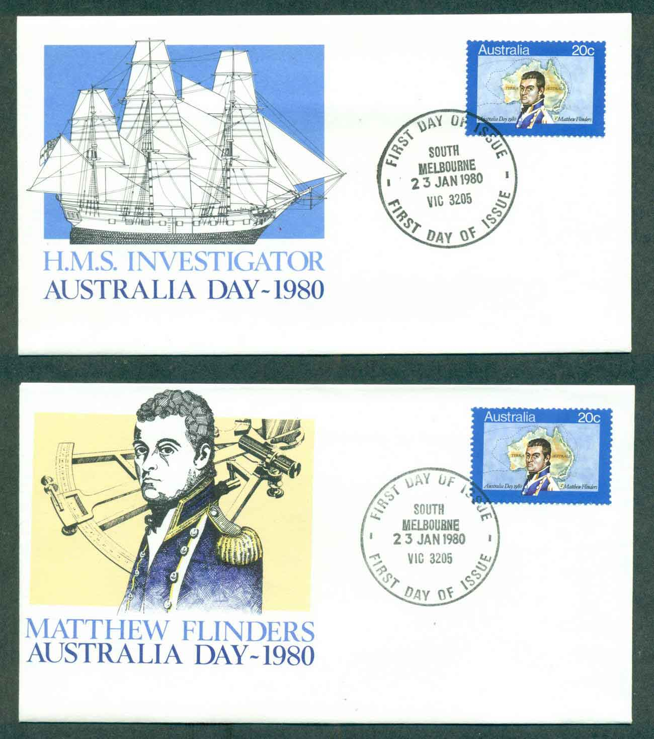 Australia 1980 Australia Day, South Melbourne 2xFDC lot50823