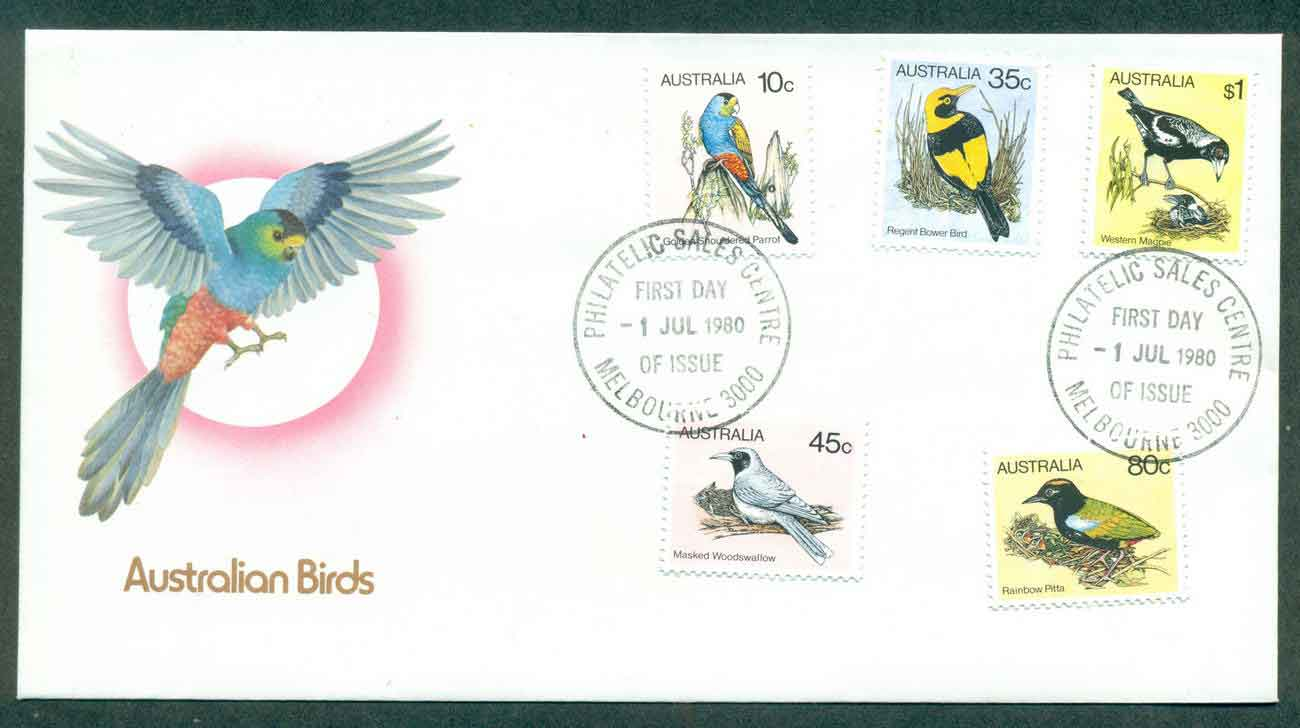 Australia 1980 Birds 10,35,45,80c, $1,Melbourne FDC lot50828
