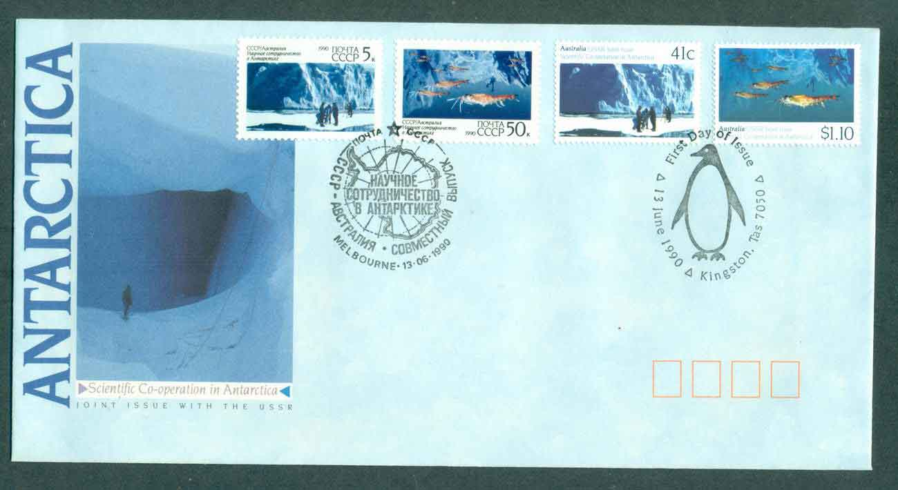 AAT 1990 Scientific Co-operation in Antarctica + USSR Stamps, Melbourne/Kingston TAS FDC lot51037