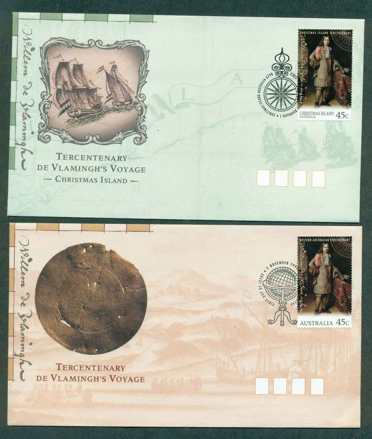 Australia 1996 de Vlamingh's Voyage, + Christmas Is 2xFDC lot51210