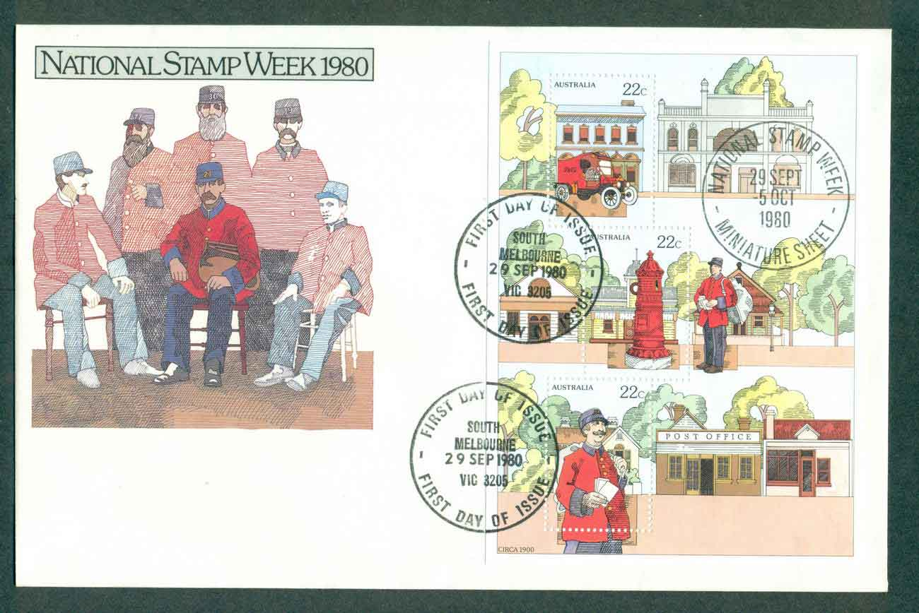 Australia 1980 National Stamp Week MS, South Melbourne FDC lot51218