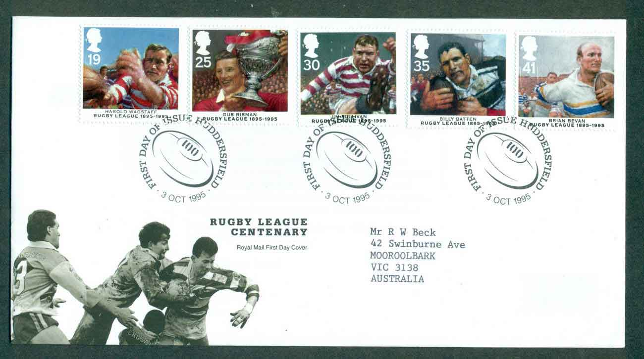 GB 1995 Rugby League Centenary, Huddersfield FDC lot51426
