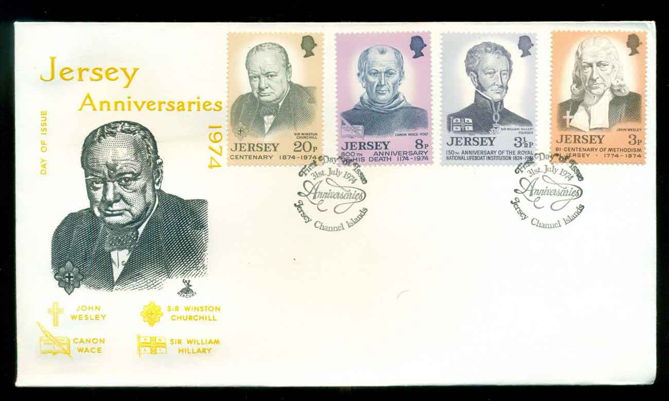 Jersey 1974 Anniversaries, Churchill FDC lot51499
