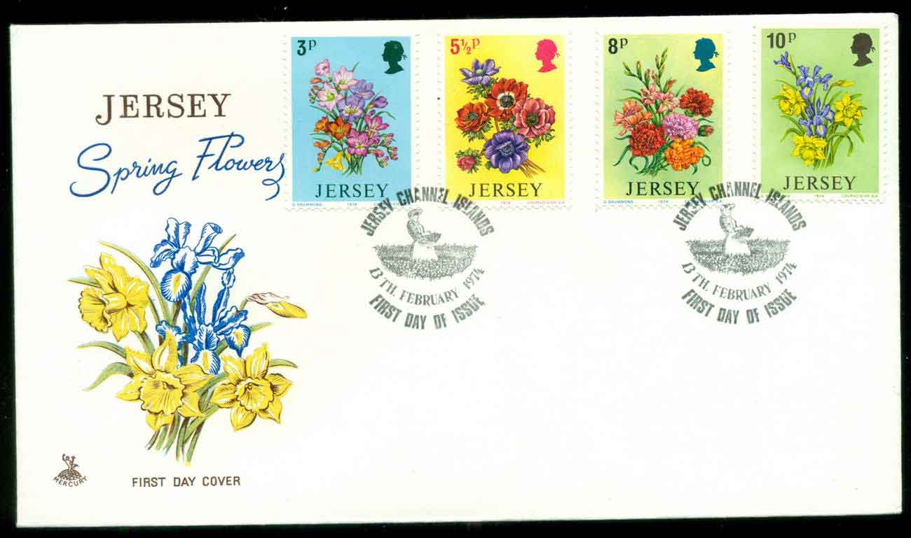 Jersey 1974 Spring Flowers FDC lot51502