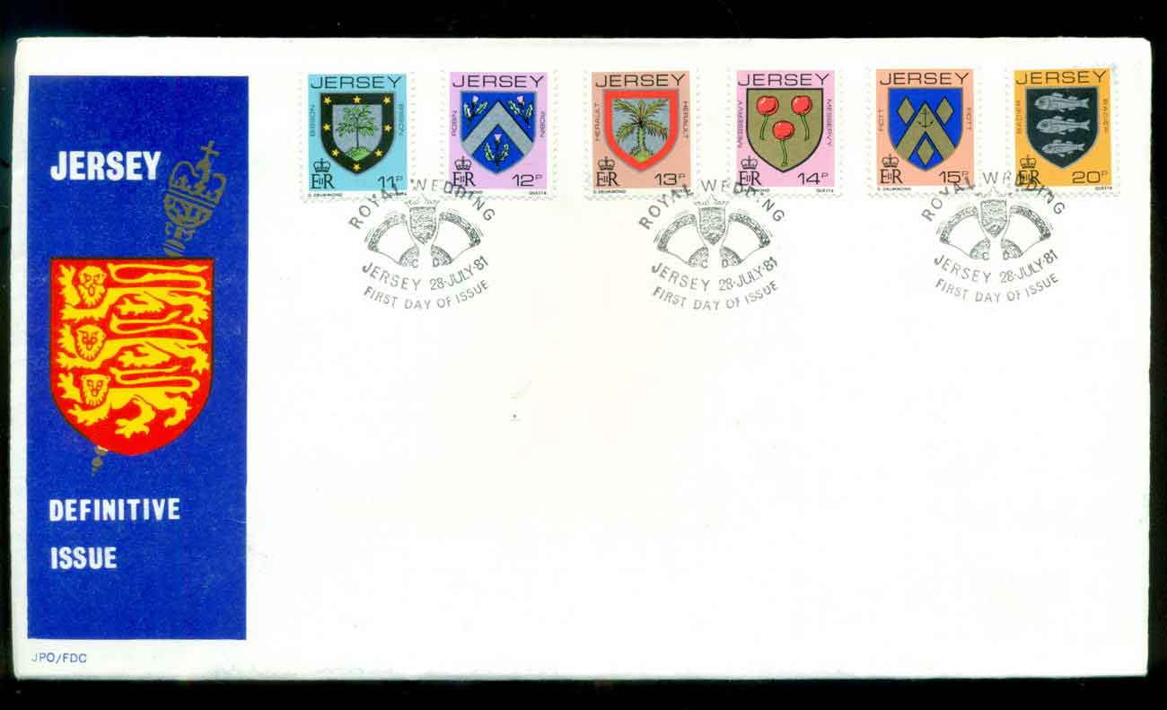 Jersey 1981 Definitive, 11,12,13,14,15,20p FDC lot51514