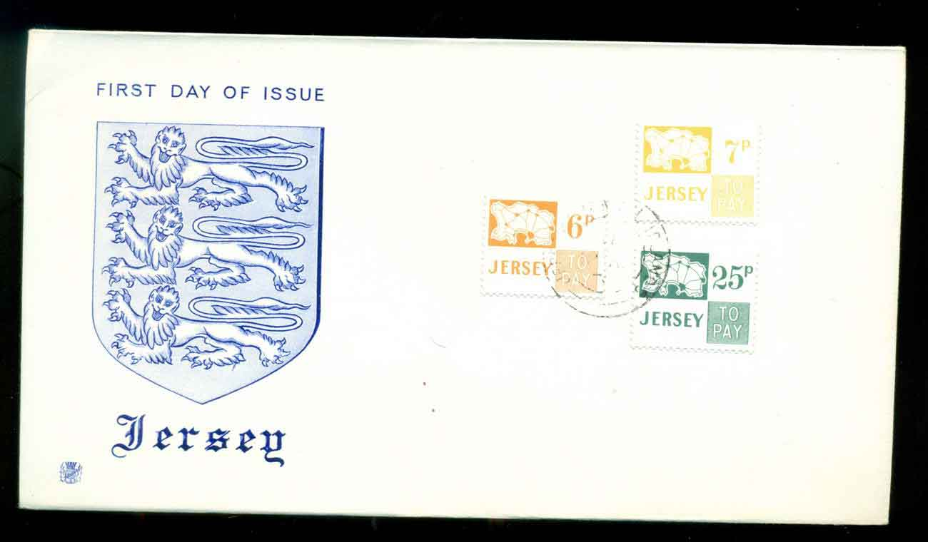 Jersey 1975 Postage Dues, 6,7,25p FDC lot51515