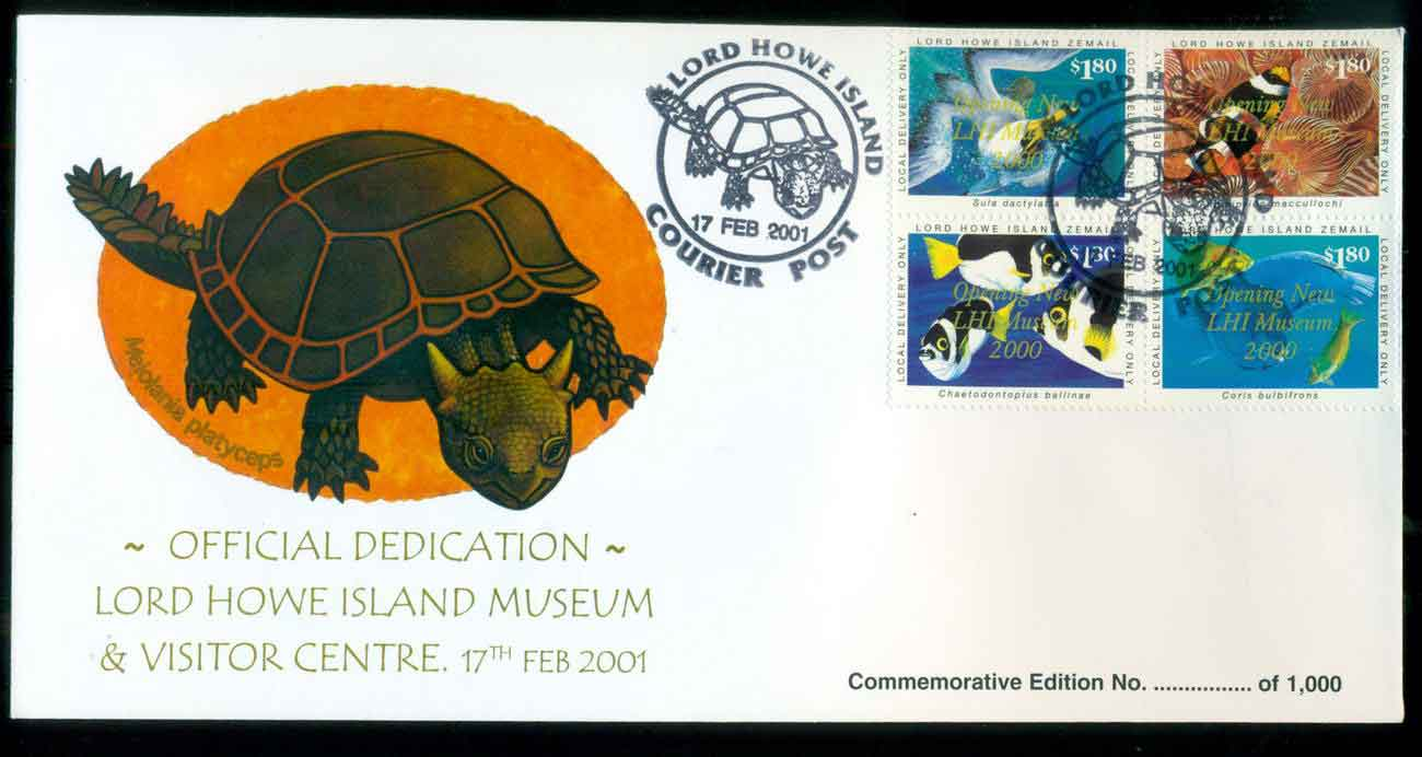 Lord Howe Island 2001 Museum Blk 4, Turtle FDC lot51533
