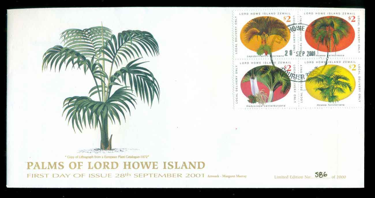 Lord Howe Island 2001 Palms of LHI FDC lot51536