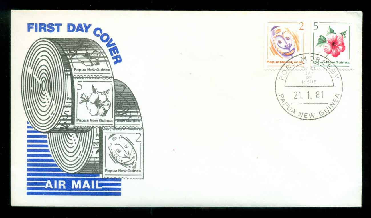 PNG 1981 Coils FDC lot51637
