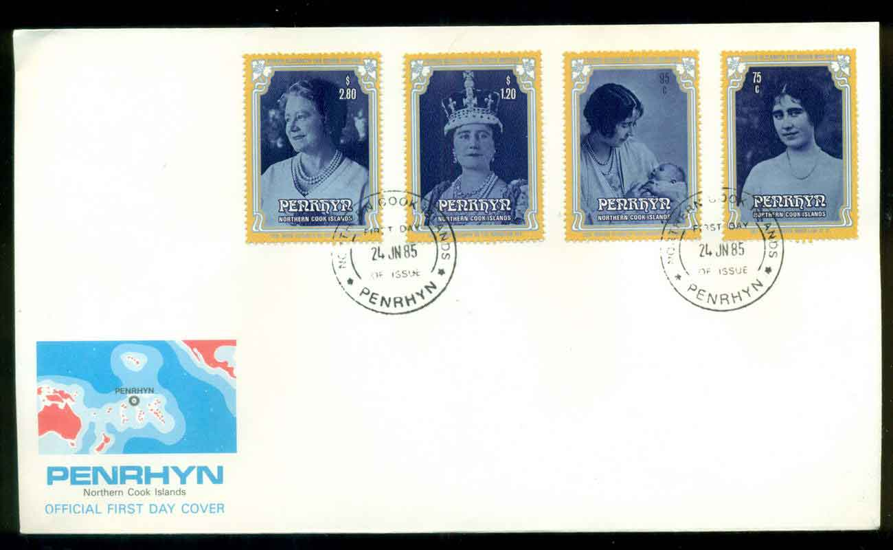 Penrhyn Is 1985 Queen Mother FDC lot51655