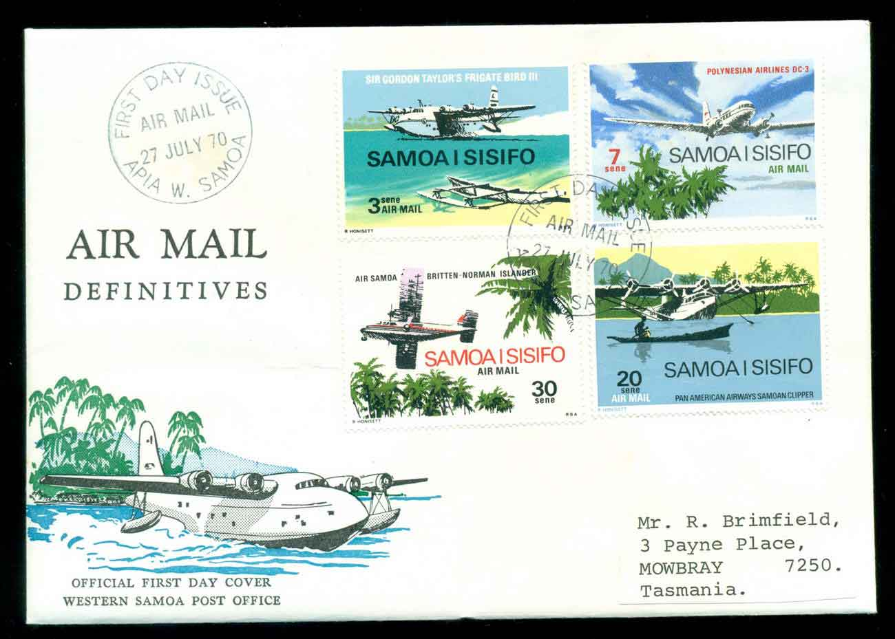 Samoa 1970 Air mail Planes FDC lot51660