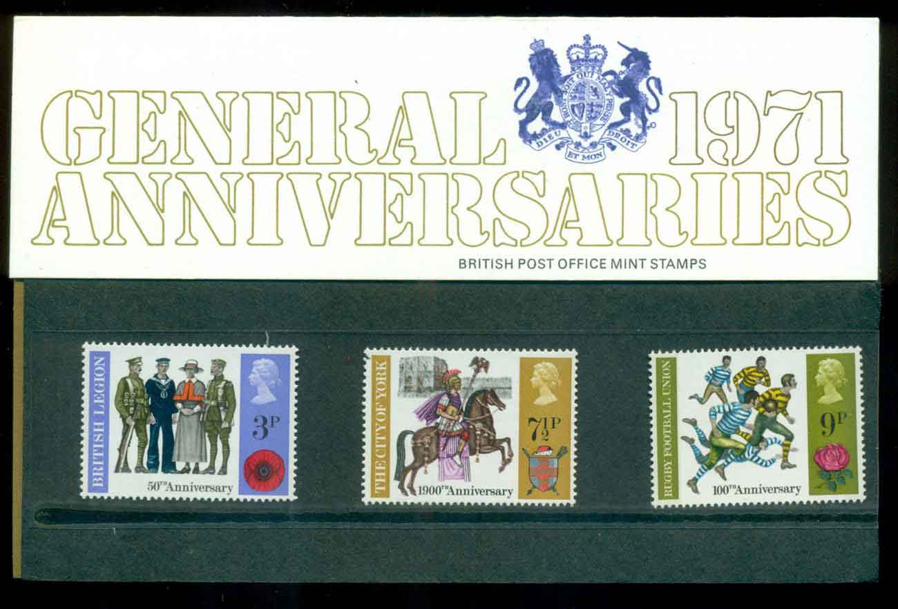 GB 1971 Anniversaries POP lot51783