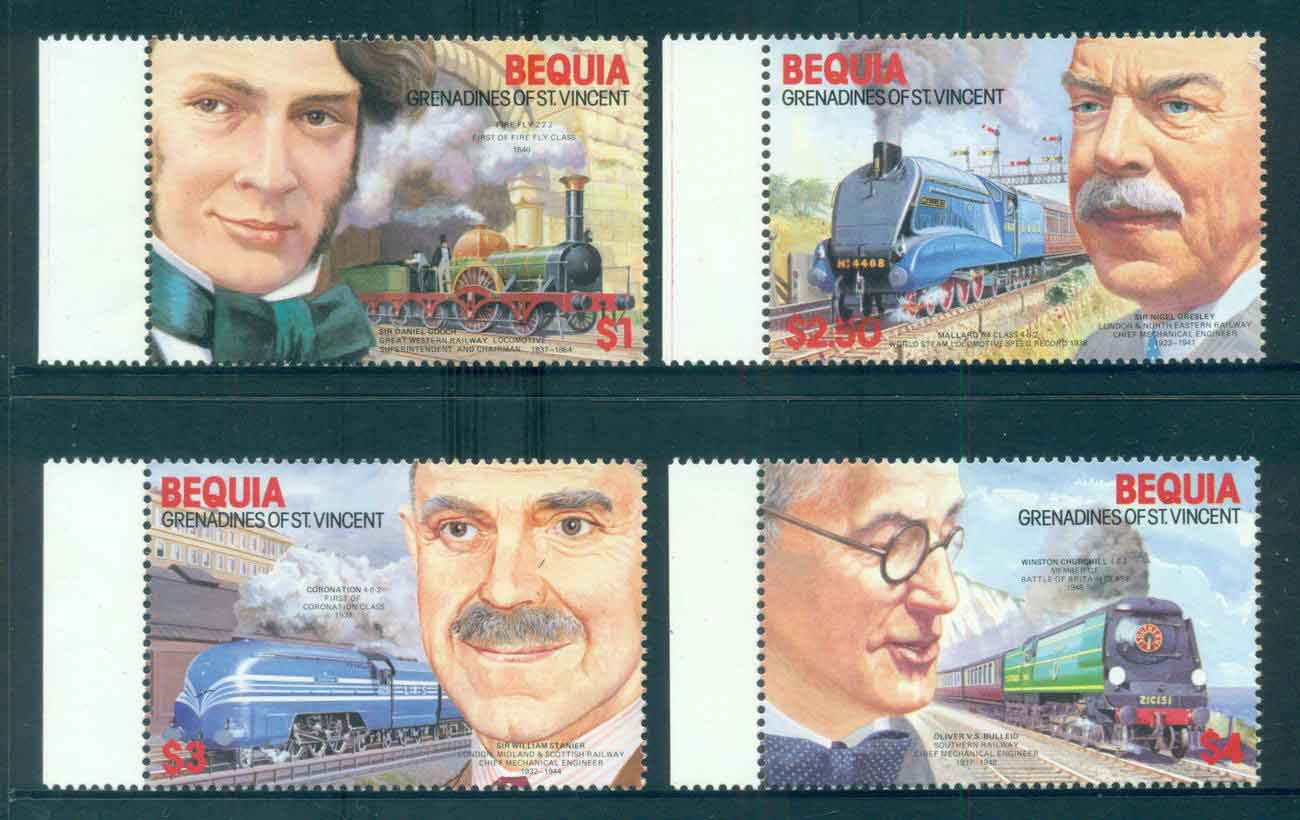 St Vincent Bequia 1986 Trains MUH lot51886