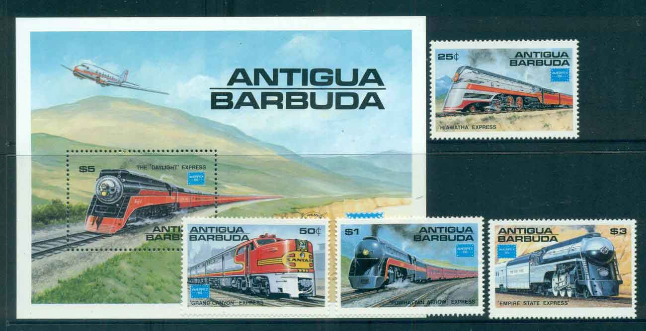 Antigua & Barbuda 1986 AMERIPEX Trains + MS MUH lot51898