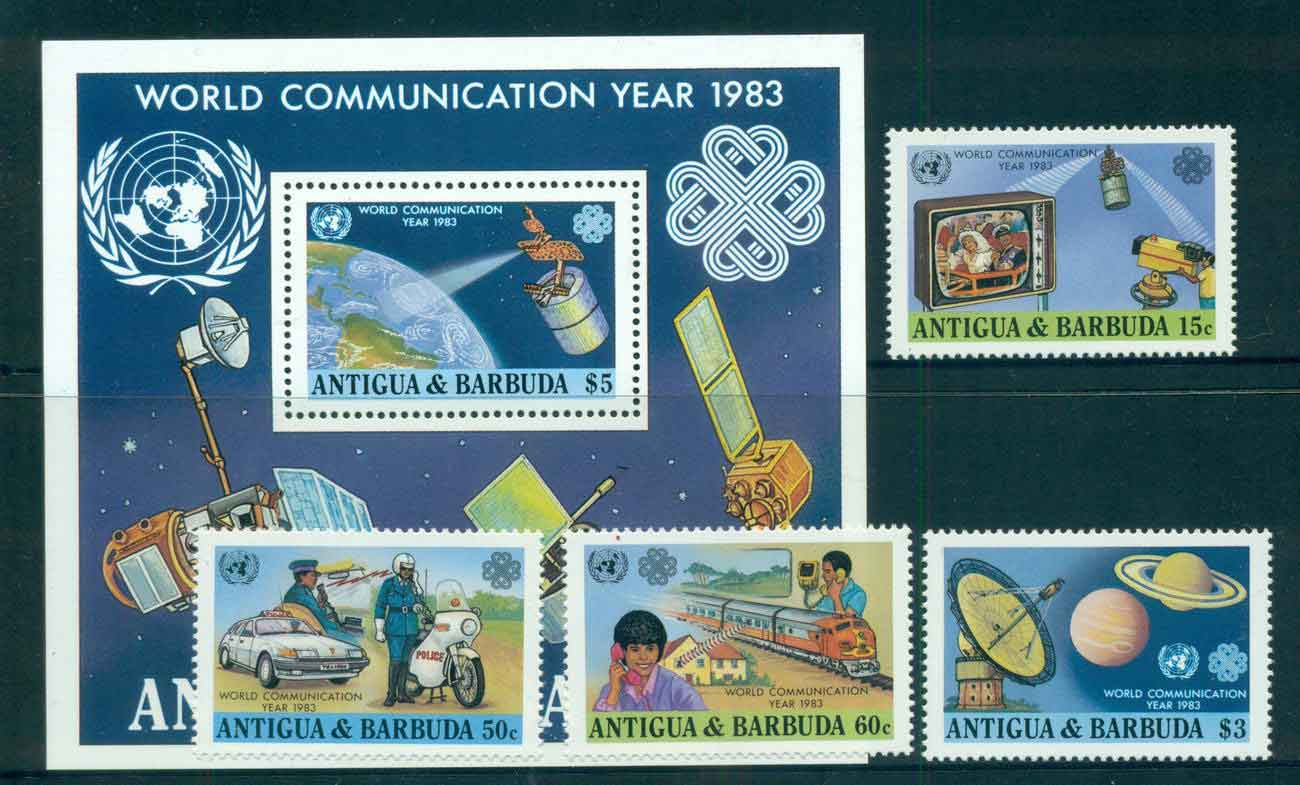 Antigua & Barbuda 1983 World Communications year Trains + MS MUH lot51899