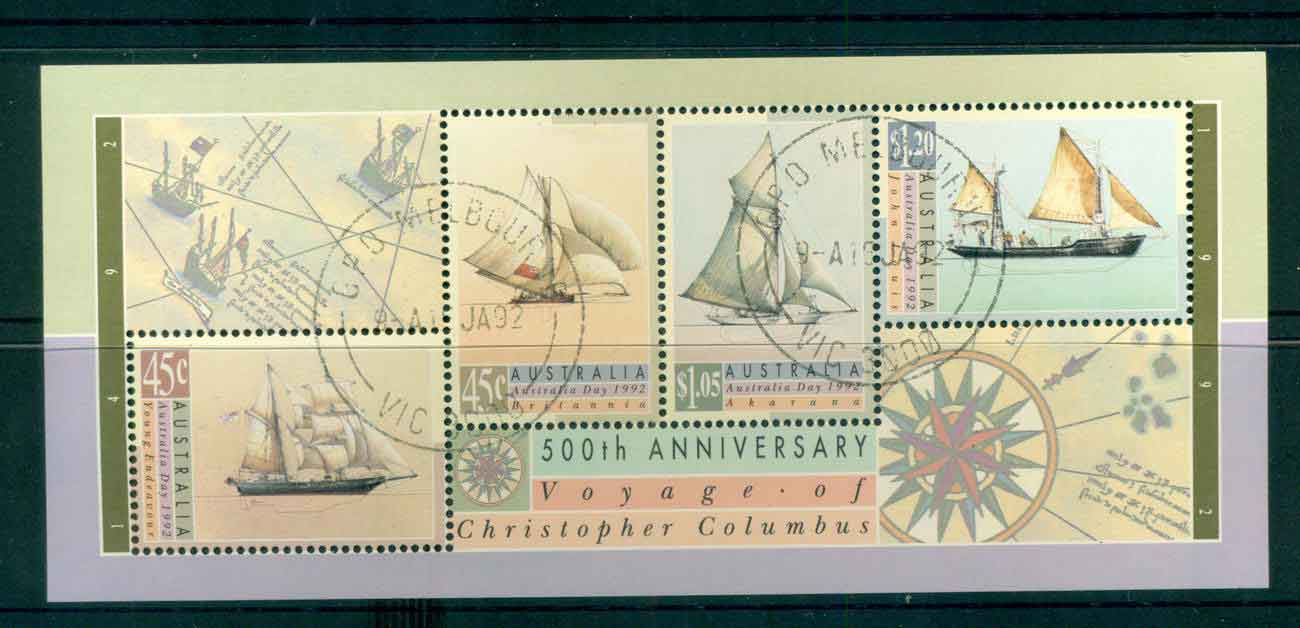 Australia 1992 Voyage of Columbus MS FDI CTO lot52110