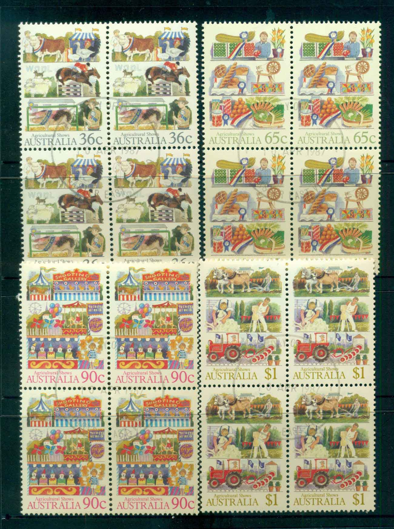 Australia 1987 Agricultural Shows Blks 4 CTO lot52185