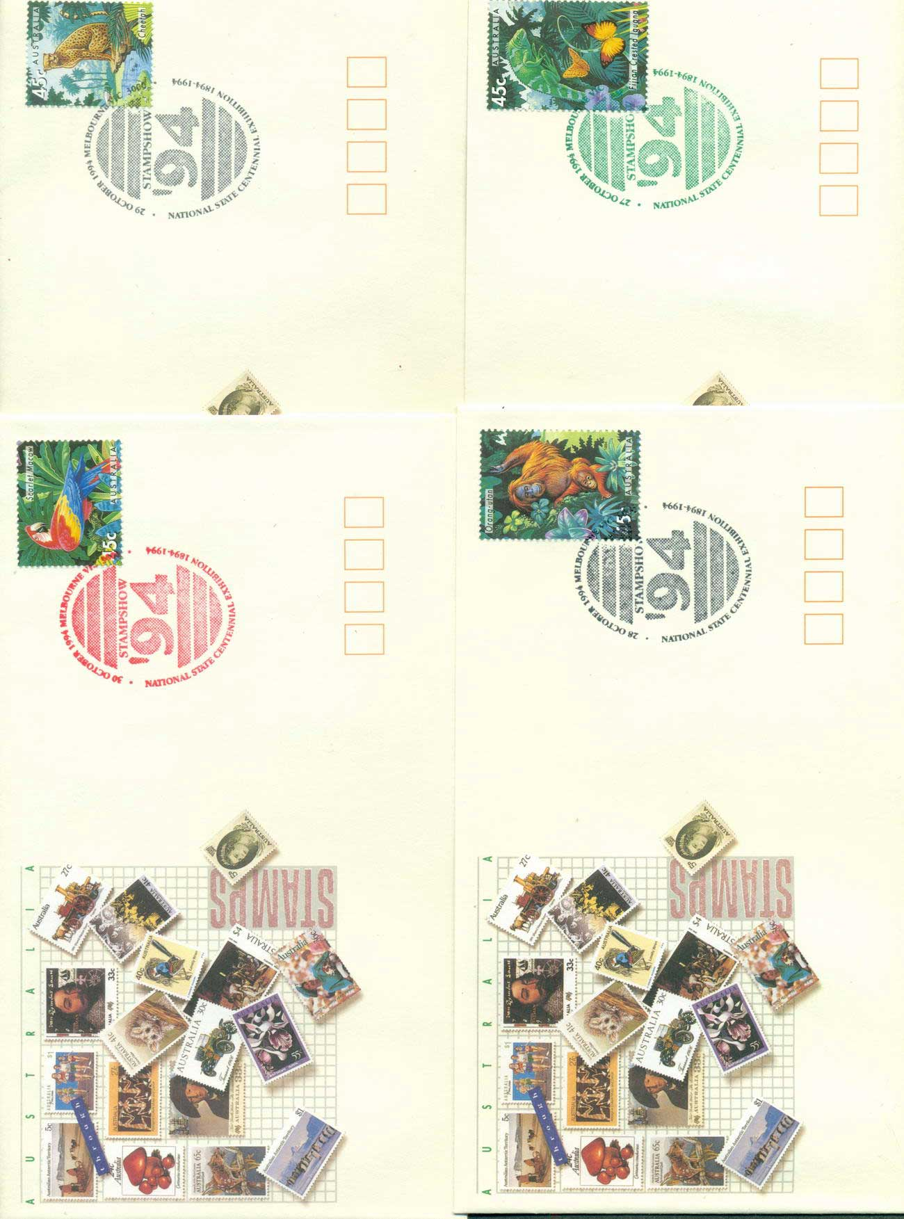 Australia 1994 National State Centennial Exhibition, Melbourne 4x FDC lot52478