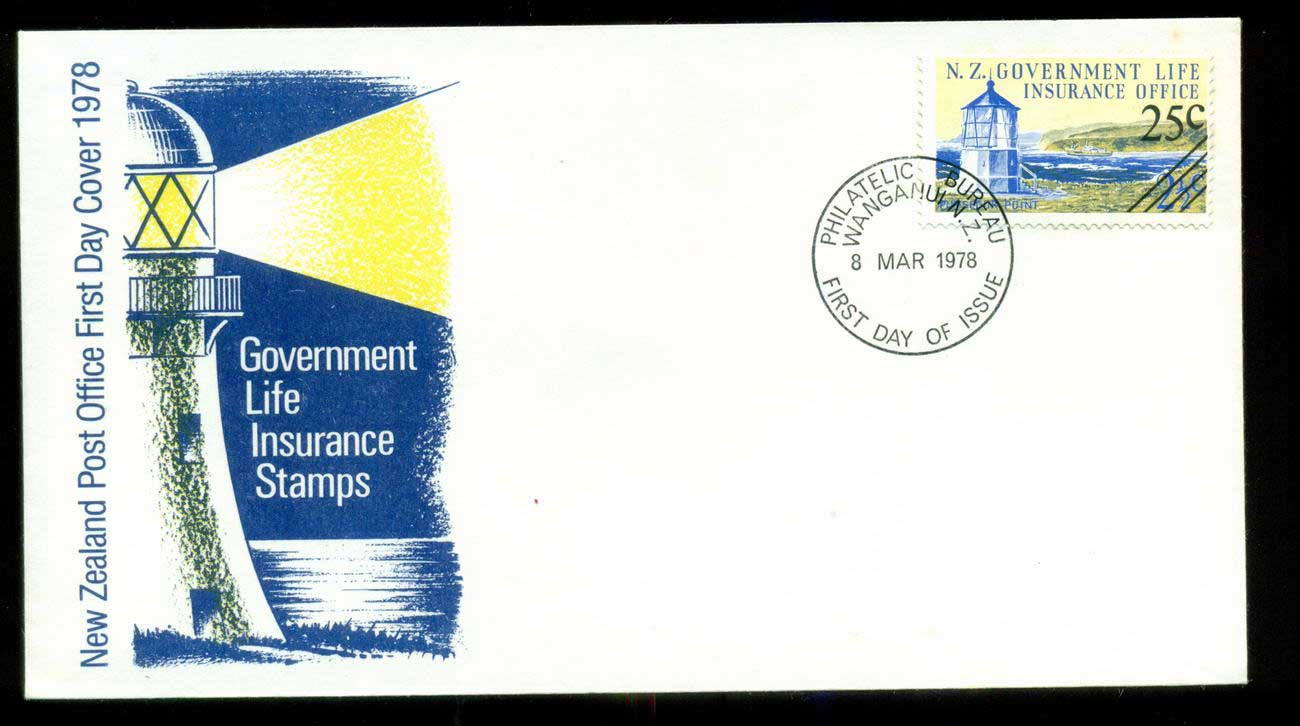 New Zealand 1978 Insurance Lighthouse 25c on 2.5c Surch FDC lot52680