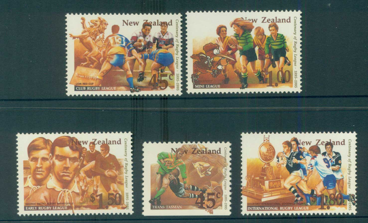New Zealand 1995 Rugby League cent + booklet stamp MUH lot53199