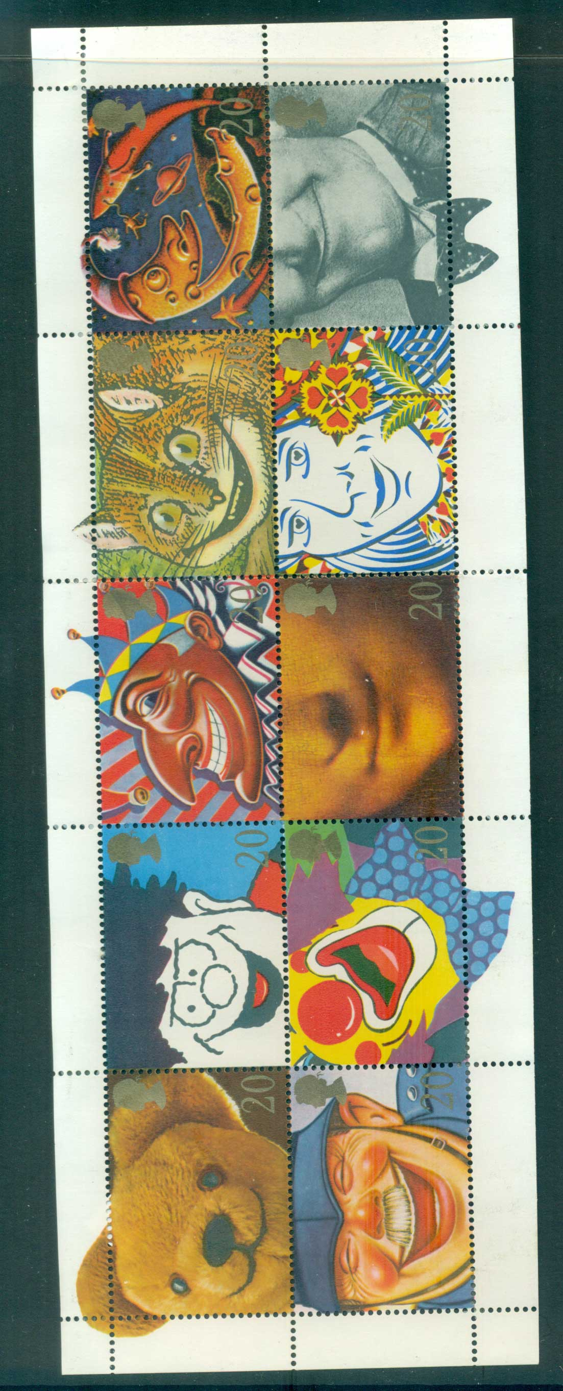 GB 1990 Famous Smiles Pane 10 MLH lot53430