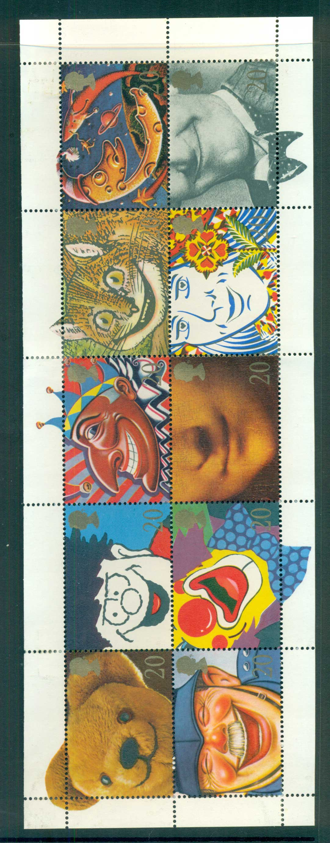 GB 1990 Famous Smiles Pane 10 MLH lot53431