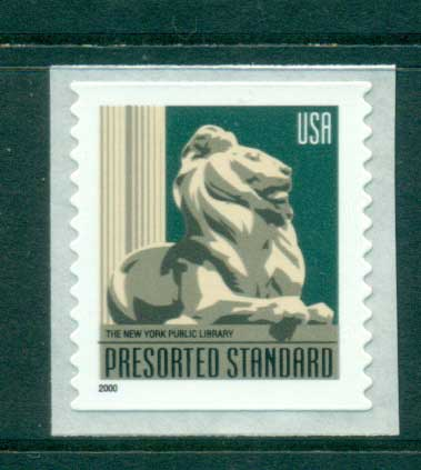 USA 2000 Sc#3447 New York Public Library Lion ex Coil MUH lot53651